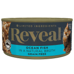 Isolated close up image of Reveal ocean fish cat food can