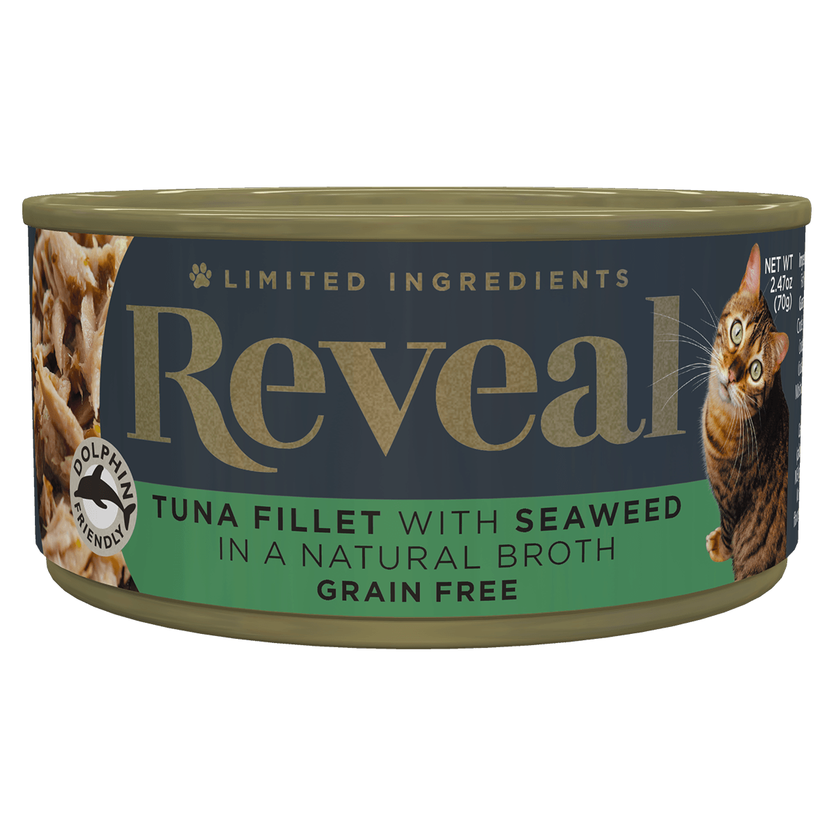 Isolated close up image of Reveal Tuna cat food with seaweed can