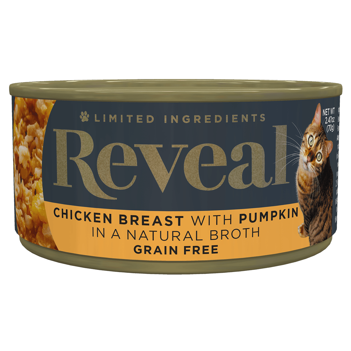 Isolated close up image of Reveal Chicken cat food with pumpkin can