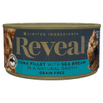 Isolated close up image of Reveal Tuna cat food with sea bream can