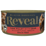 Isolated close up image of Reveal Tuna cat food with crab can