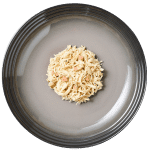 Isolated aerial image of Reveal chicken cat food with duck on plate
