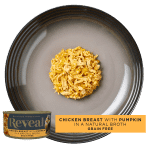 Isolated aerial image of Reveal chicken cat food with pumpkin
