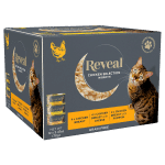 Image of a box of 12 Reveal Chicken broth for cats selection