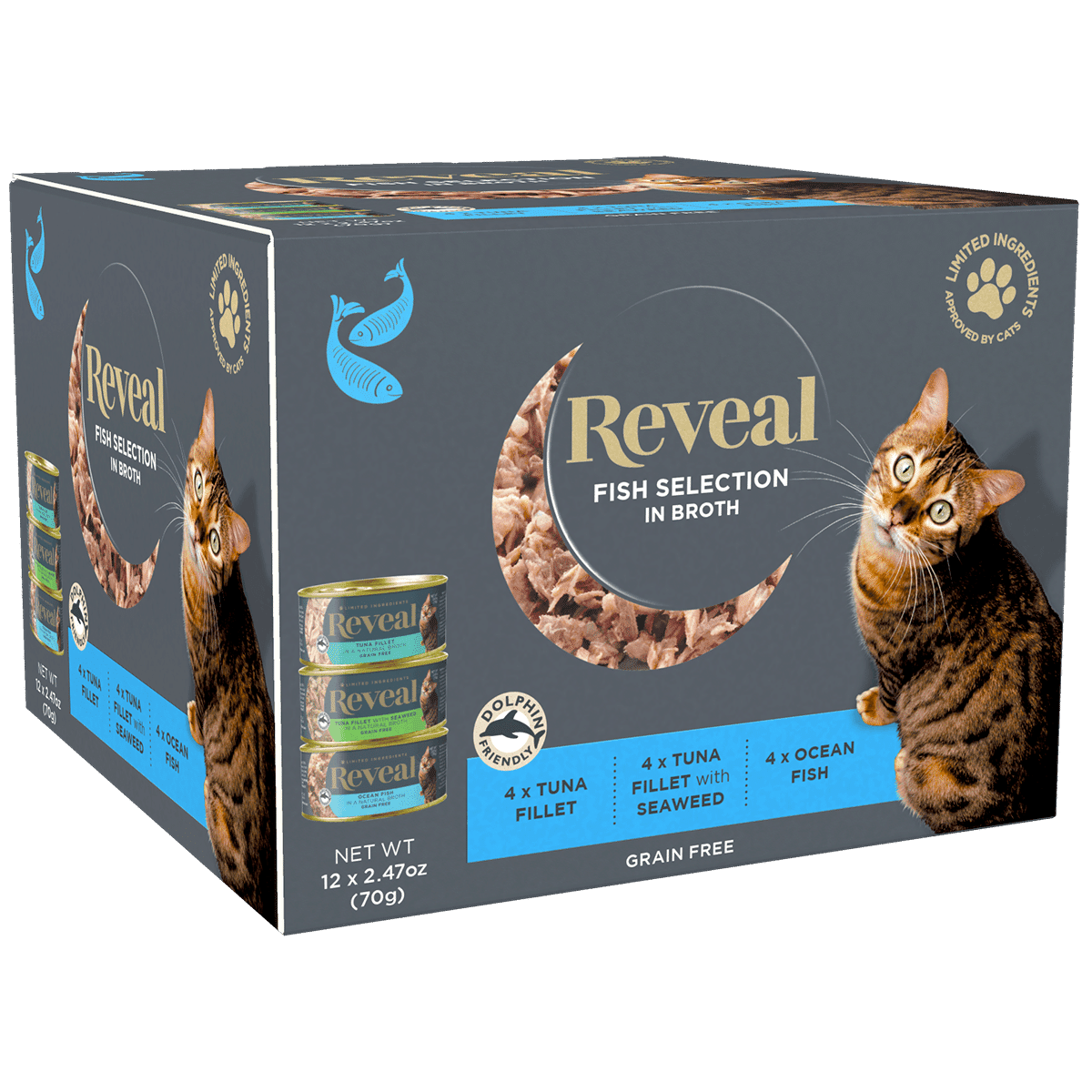 Image of a box of 12 Reveal Fish Broth for cats selection