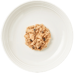 Isolated aerial image of Reveal tuna cat food with mackeral on a plate