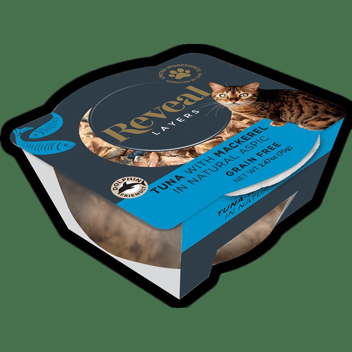 Photo of a Reveal tuna and mackerel cat food pot